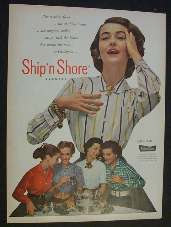 The Merriest Face For A Ship N Shore Vintage 1950s Blouse
