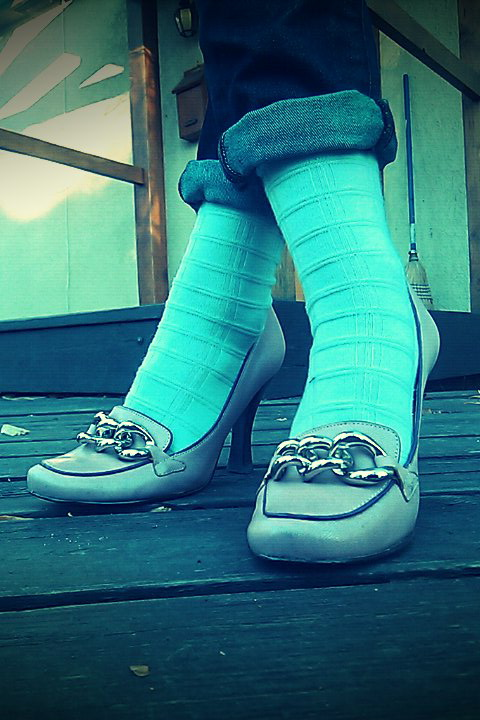 rolled up jeans cuffs, textured mint socks check, lavendar loafer pumps bcbg max azria chain hardware