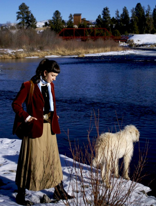 McCall tourism, McCall hiking, McCall sites, Payette River, velvet jacket, blazer, Talbots, wool skirt, layering for winter, silk scarves, vintage suede Bonnie Cashin purse