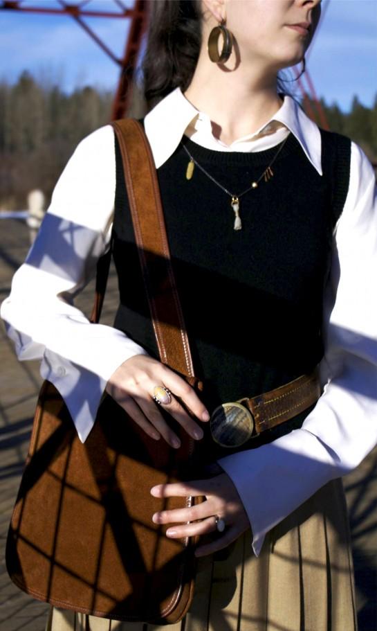 vintage suede Meyer's Bonnie Cashin purse, Bonnie Cashin Coach, Hazel Cox, handmade jewelry, antique Navajo ring, elk ivory