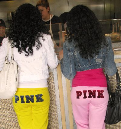 sweatpants in public, shopping in sweatpants, pants with writing on the butt