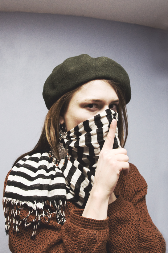Kate Landry beret and BDG linen striped scarf