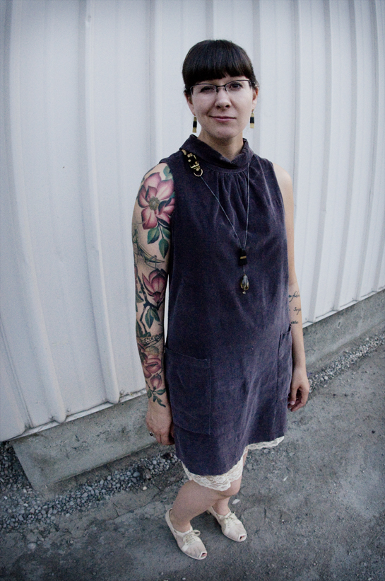 magnolia tattoo, visual arts collective, story story late-night, bag dress, pocket dress, slip is showing, vintage net shoes