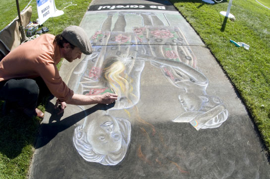 Featured artist Marcus Pierce Idaho Statesman chalk drawing 7.4.2012 photographed by Bethany Walter