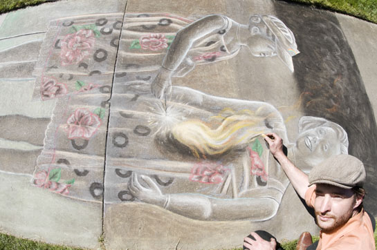Marcus Pierce as a featured artist at Idaho Statesman chalk drawing festival. Photographed by Bethany Walter