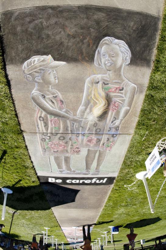 Marcus Pierce Idaho Statesman chalk drawing 7.4.2012 photographed by Bethany Walter