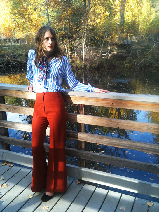 Vintage 70s polyester pants, striped pajama blouse, blouse bow tie, velvet heels, thrift store fashion Idaho