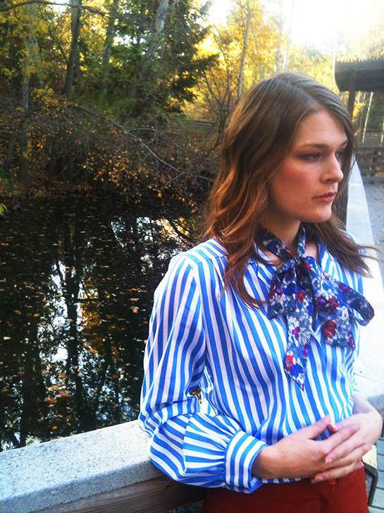 Vintage 70s polyester pants, striped pajama blouse, blouse bow tie, velvet heels, thrift store fashion Idaho